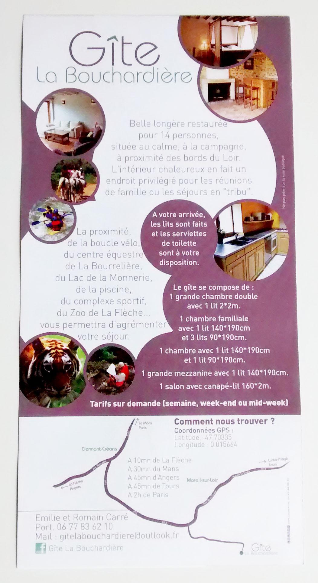 Top Gite de la Bouchardière : flyer et carte de visite   Faites la  JB17